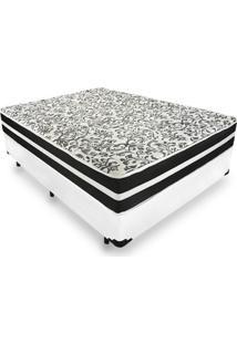 Cama Box Casal + Colchã£O De Molas - Anjos - Black Graphite 138X188X61Cm Branco - Branco/Cinza/Marrom/Preto - Dafiti