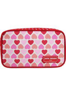 Nécessaire Corações- Vermelha & Rosa- 11X19X5Cm-Jacki Design