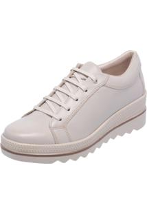 Tênis Sola Plataforma Miuzzi Couro Ref: 3901 Off White