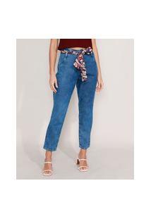 Calça Mom Jeans Marmorizada Com Lenço Estampado Paisley Cintura Super Alta Azul Médio