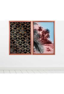 Quadro Com Moldura Chanfrada Praia Com Abstrato Rose Metalizado - Médio