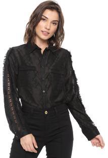 Camisa Lily Fashion Franja Preta