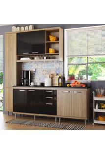 Cozinha Completa Com Balcão Com Tampo 5 Peças 8 Portas Sicília Multimóveis Argila/Preto