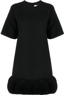 Valentino Embroidered Crêpe Couture Dress. - Preto