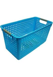 Cesta Organizadora Grande 40X20X19Cm Basic Kitchen Azul