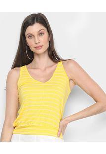 Blusa Mercatto Regata Listrada Feminina - Feminino-Amarelo