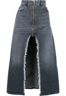 Marcelo Burlon County Of Milan Saia Jeans Longa Com Fenda - Preto
