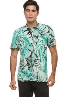 Camisa Zaiko Slim Viscose Estampada Manga Curta Masculina - Masculino-Verde