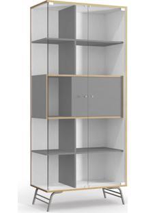 Cristaleira 2 Portas De Vidro, Branco Com Cinza, Talim