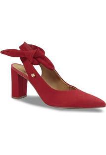 Scarpin Chanel Bico Fino Couro Bottero Laço Feminino - Feminino-Vermelho