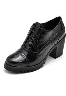 Bota Carmelo Oxford Ankle Boot Couro Preto