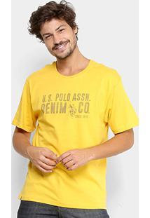 Camiseta U.S. Polo Assn Estampada - Masculino-Mostarda