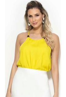 Blusa Decote Trapézio Amarela