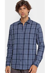 Camisa Xadrez Foxton Flanelada Masculina - Masculino-Azul