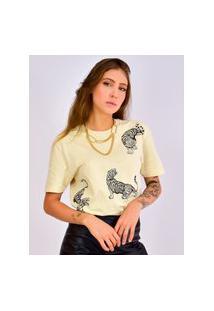 Camiseta Toneh Estampado Tigre Bege Bege