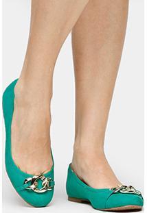 Sapatilha Couro Shoestock Corrente Feminina - Feminino-Verde