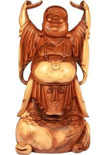 Escultura Buda Feliz Em Madeira 103Cm   Bali