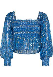 Rixo Blusa Eloise Com Estampa Gráfica E Franzido - Azul