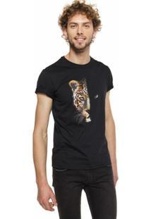 Camiseta Onça Pintada Mumo Masculina - Masculino-Preto
