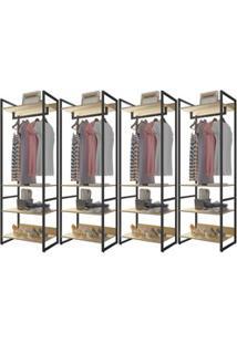 Guarda Roupa Casal Closet 4 Módulos Indy F02 Nature Texturizado - Mpoz