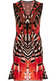 Alexander Mcqueen Vestido 'Butterfly' Jacquard - 6540 Black/Red