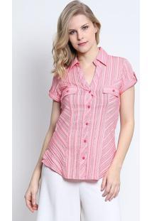 Camisa Listrada Com Bolso- Rosa- Intensintens