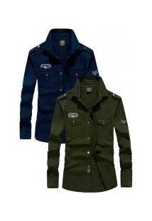 Kit 2 Camisas Slim Fit Army London - Navy E Verde Militar