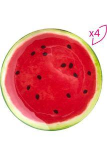 Jogo De Pratos Rasos Melancia- Vermelho & Verde- 4Pã§Bon Gourmet