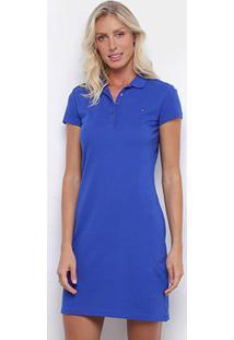 Vestido Polo Tommy Hilfiger New Chiara Str Listrado - Feminino-Azul