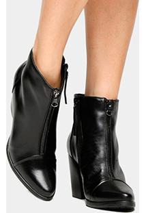 Bota Couro Cano Curto Shoestock Midi Ziper Feminino - Feminino-Preto