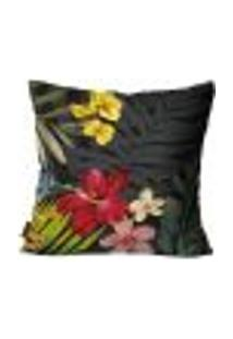 Capa Para Almofada Premium Peluciada Mdecore Floral Colorido 45X45Cm