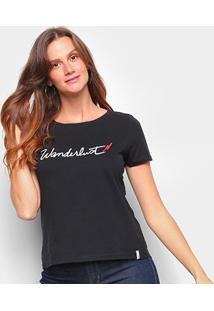 T-Shirt Cantão Slim Wanderlust Feminina - Feminino-Preto