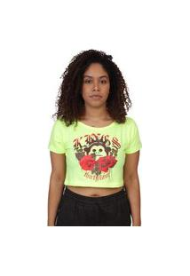 Camiseta Kings Sneakers Cropped Floral Melão Neon