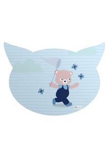 Tapete Pet Mdecore Cabeça De Gato Urso Azul 54X39Cm