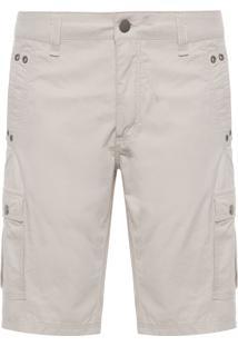 Bermuda Masculina Color Embutidos Com Ilhóses - Off White