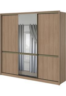 Guarda-Roupa Urban Com Espelho Central - 3 Portas - 100% Mdf - Carvalho Naturale Ou Carvalho Naturale Com Offwhite