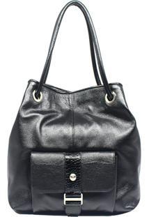 Bolsa De Couro Recuo Fashion Bag Sacola Preto