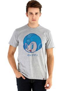 Camiseta Ouroboros Manga Curta Vintage Mega Man - Masculino-Cinza