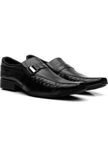 Sapatos Social Couro Fran Garcia Fivela Masculino - Masculino-Preto