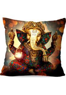 Capa De Almofada Avulsa Decorativa Lord Ganesha 35X35Cm