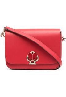 Kate Spade Bolsa Transversal De Couro Com Placa De Logo - Vermelho
