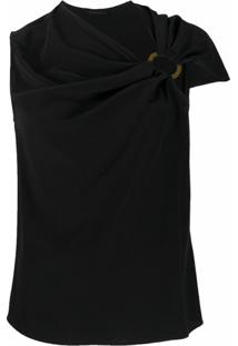 Versace Blusa Com Franzido - Preto