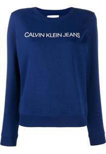Calvin Klein Jeans Suéter Com Logo Bordado - Azul