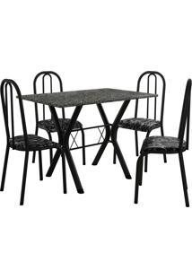 Conjunto De Mesa Miami 4 Cadeiras Preto Fosco/Preto Floral Fabone