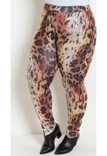 Calça Legging Onça Plus Size