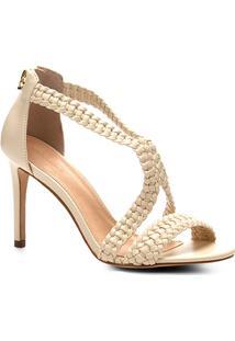 Sandália Shoestock Salto Fino Macramê Feminina - Feminino-Off White