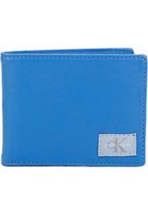 Carteira Couro Calvin Klein Porta Cartão Masculina - Masculino-Azul