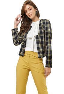 Casaqueto Mx Fashion Tweed Xadrez Chelsea Preto/Amarelo