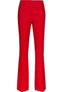 Marine Serre Moonogram Slim Fit Tailored Trousers - Vermelho