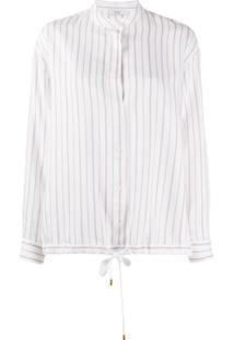 Peserico Blusa Com Listras E Cordão De Ajuste Na Barra - Branco